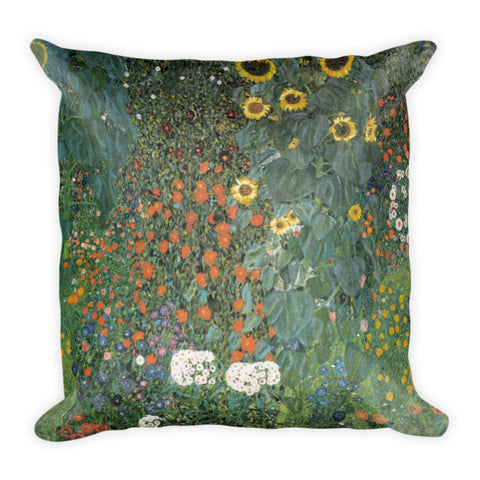 Gustav Klimt, Farm Garden with Sunflowers Pillow