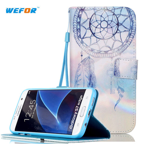For S7 Edge Customized! New Fashion Leather Phone Cases For Samsung Galaxy S7 Edge G9350 Stand Cover /w wallet and card holder
