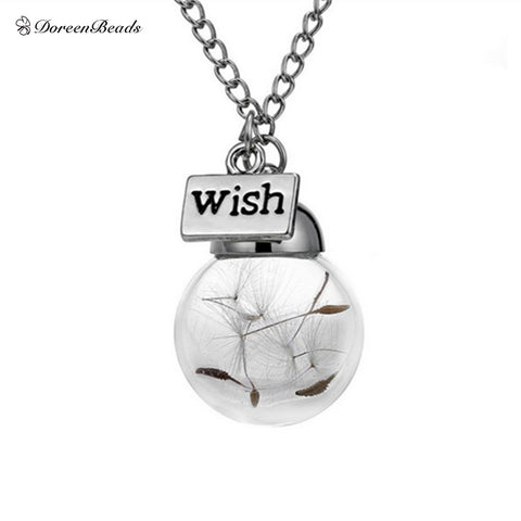 1PC Wish bottle necklace Real Natural Dandelion Seeds Water Drop Bottle Botanical Pendant long Necklace a wish for Woman