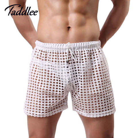 2016 Men Shorts Mesh Sheer See Through Gay Penis Man Shorts Brand Sleep Bottoms Sleepwear Mens Shorts Casual Leisure Home Wear