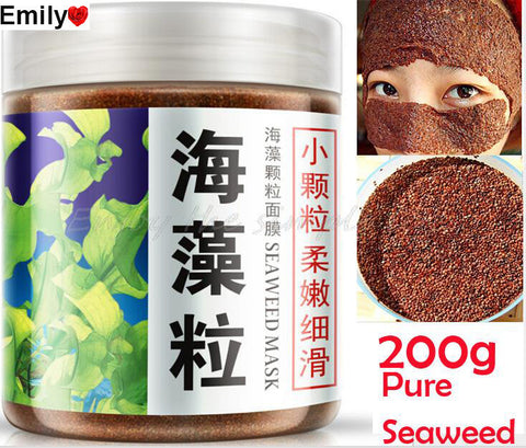 1 bottle 200g Pure Seaweed Alga Mask Powder Algae Mask Acne Spots Remove Whitening&Moisturizing Facial Mask Free Shipping
