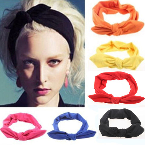 1Pc Women Solid Knotted Hairband Yoga Turban Elastic Hair Bands Twisted Cross HeadwearHairbands Girls Hair Accessories