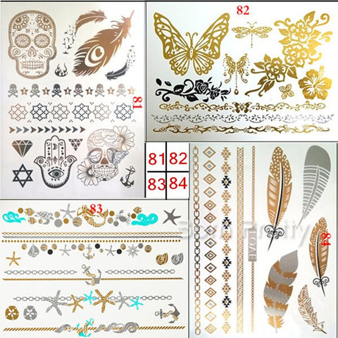 1 Sheet Skeleten Feather Butterfly Tattoo Decals Ocean Style Decal Waterproof Paper