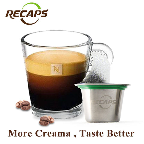 (1 cup+120 seals) Nespresso Refillable Coffee Capsule Stainless Steel Refilling Reusable Empty  Nespresso Refill capsulas