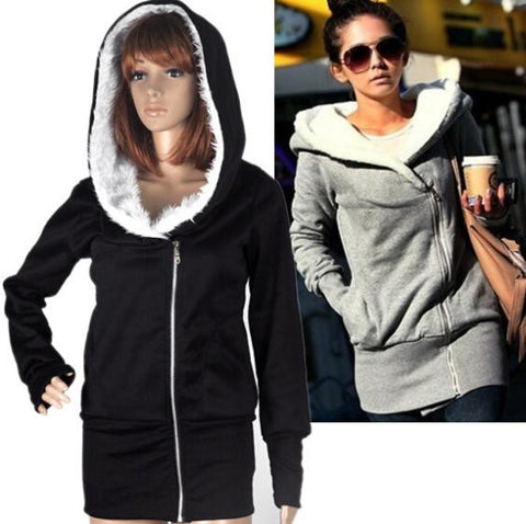 2014 Han edition classic fashion hot personality inclined zipper hooded fleece Sweatshirts fleece single women