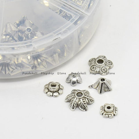 1Box Metal Flower Bead Caps Vintage Filigree DIY Jewelry Making Findings Mixed Silver Plated Accessories components supplies