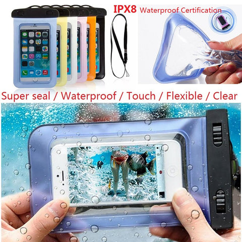 100% Sealed Waterproof Bag Case Pouch Phone Cases for iPhone 6/6 Plus/5S Samsung Galaxy S6/S5/S4/ Samsung Note  Most Phones