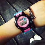 Cute Fashion Digital LED Stop Watch Rubber Watch Wristwatches Gift Hours for Women Girls Children Black Pink