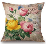 2016 European And American Retro Flowers Decorative Linen Cotton Throw Pillow Home Bedside Chair Seat Back Cushion