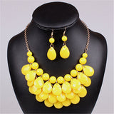 Acrylic Bead Chokers Statement yellow red Necklace Bib Bubble Necklace Earrings Jewelry Set Multi layer Jewellery Sets Collar