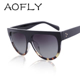 AOFLY 2016 Fashion Sunglasses Women Flat Top Style Brand Design Vintage Sun glasses Female Rivet Shades Big Frame Shades UV400