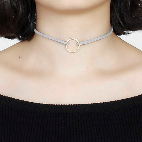 "New Fashion Gray Velvet Suede Choker Necklace Gold Plated Circle Ring Pendant 33cm(13"") long, 1 Piece"