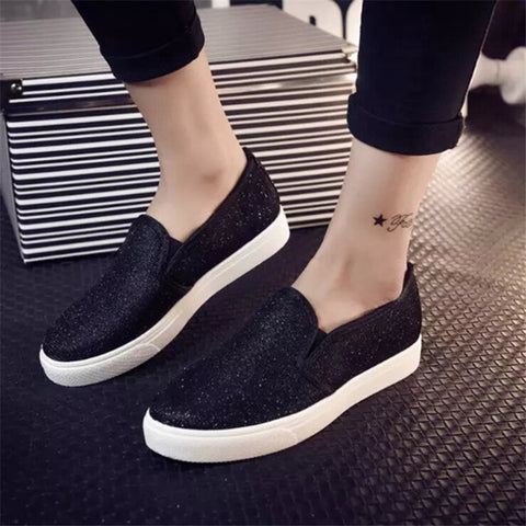 2015  Fashion Women Casual Flat Shoes Spring Autumn Women's Sequined Canvas Shoes for Women Loafers alpargatas Sapatos Femininos