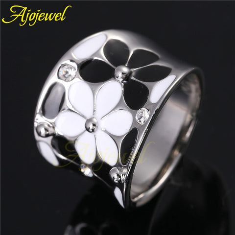 Ajojewel Brand Scarves Buckle Beautiful 18K White Gold Plated White & Black/ Pink Enamel Women Rings Flower With CZ