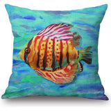 Factory Supply 2016 Latest Design Marine Life Tropical Fish Printed Linen Cotton Throw Pillow Cushion For Kids Gift