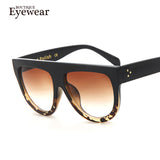 BOUTIQUE Woman Flat Top Mirror Sun Glasses Cat Eye Sunglasses French brand oculos De Sol