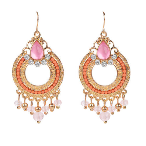 Ethnic New Fashion Silver Plated Light Pink Clear Beads Hoop Pendants Charms Crystal Statement Drop Earrings for Women Jewelry