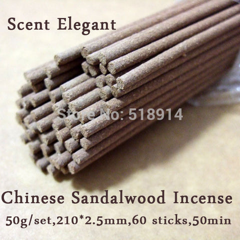 Natural Sandalwood Incense Sticks Chinese Sandal Incense 50g+60 Sticks Scent Elegant Herbal Incense Buddhist Temple Incense