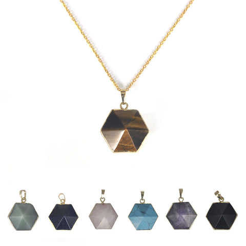 1 Pcs 13X25mm Geometric Nature Stone Necklace Hexagonal Crystal Necklaces Gems Stones Pendant For Women And Men Wholesale
