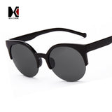 Alloy Hinge Summer Style 6 Colors Vintage Cat Eye Sunglasses Stylish Women Eyewear Semi-Rimless Sun Glasses Men Round Glasses