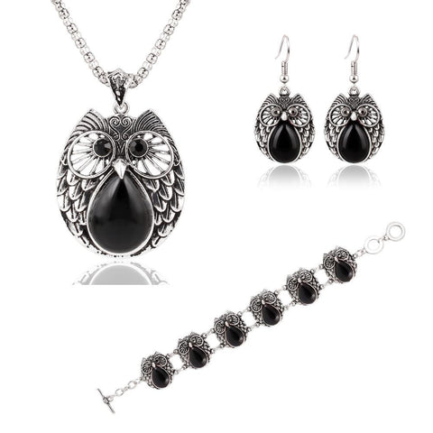 Summer Style Jewelry Sets Silver Plated Vintage Turquoise Pendant Necklace Owl Drop Earrings Charm Bracelet Fashion For women