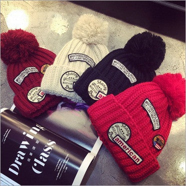 2015  Fashion  Europe  Personality  Casual   Winter Warm   Patch Letter   Wool Ball  Hats For  Women   Beanie Hat   Gorros