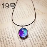 Hot Fashion Crystal glass Ball Galaxy Star 1-20 Necklace Long Strip Leather Chain Pendant Necklaces Women 2015 Jewelry NJ-14