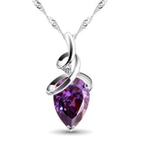 Natural Stone Charms Purple Drops Pendant Necklace  2016 New Fashion Jewelry Necklaces & Pendants Chain For Woen 2PS06