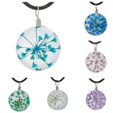Transparent Glass Dried Flower Necklace Black Wax Cord Fuchsia Skyblue Blue Green White Pink Purple Rose Red 44.5cm, 1 Piece