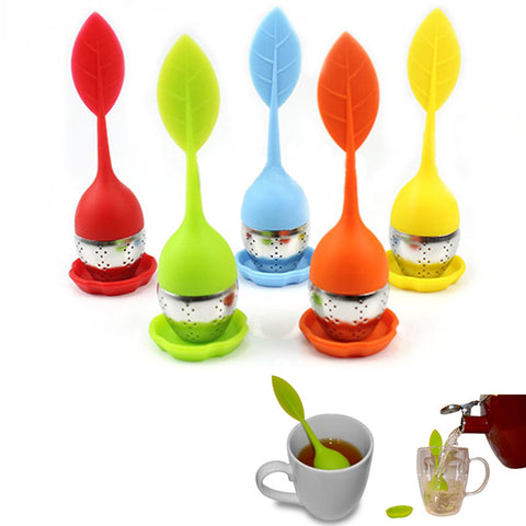 1 pc Food-grade Silicone & Stainless Steel Leaf Tea Leaf Strainer Herbal Spice Infuser Tea Filter Free Shipping
