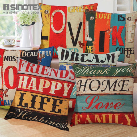 Cushion Cover 43x43cm  Polyester&Linen Decorative Throw Pillow Digital Printing Mediterranean Style Letter Sofa Decor