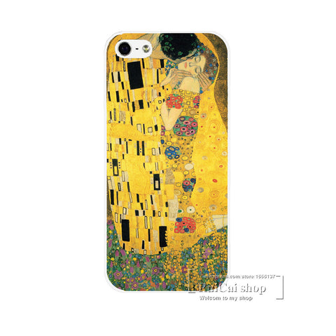 Kiss By Gustav Klimt Style Hard White Skin Case Cover for iPhone 5 5C 5g 5C 6 6S 6S PLUS High quality Phone Cases Shell