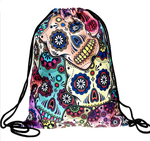 2015 new fashion time-limited lunch backpack unisex mexican skull women backpacks freeshipping blue softback 3d print polyest