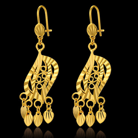 Brand Indian Jewelry Unique Heart Earrings 18k Gold Plated New Trendy Classic Long Drop Earrings For Women Wholesale 2015