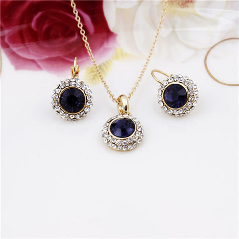 18K Gold Plated Fashion 2014 New Upscale Temperament Semicircular Austrian Crystal Earrings Necklace Jewelry sets For Women