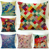 Cotton Blend Linen Decorative Throw Pillow Covers Colorful Geometric Diamond Pattern Sofa Seat Cushion Cover