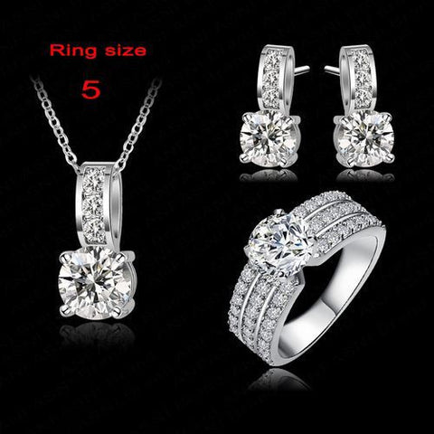 2015 New Arrival Wedding Jewelry Set Platinum Plt Crubic Zircon Necklace/Earring/Ring Set Choose Size For Ring CST0022-B