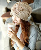 2015 New Butterfly-knot Rose Flower Ladies' Fashion Cap Nice Chiffon Lace Hand Hooked Women Beanies Hats Retails