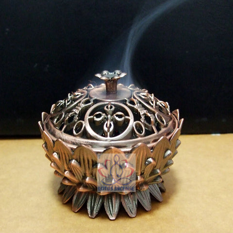 New Arrival Copper Lotus Incense Burner Alloy Mini Tibetan Incense Burner Sandalwood Censer Home Decor Free Shipping