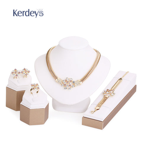 Fine Crystal African Beads Jewelry Sets Summer Style Gold Plated Bridal Wedding Accessories Necklace Bracelet Earrings Rings Set