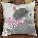 Factory Supply 2016 New Chinese Style Ink Lotus Retro Short Soft Plush Throw Pillow Home Decor Chair Seat Back Cushion