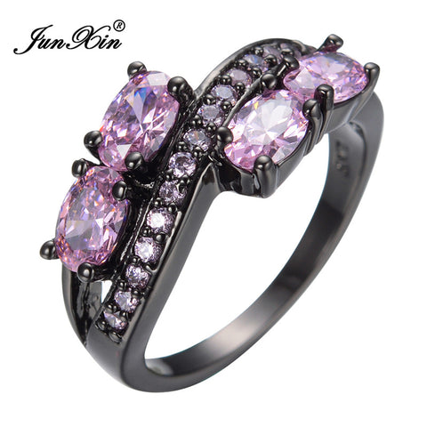 Gorgeous Women Natural Stone Pink Sapphire Finger Rings 10KT Black Gold Filled Ring 2015 NEW Arrival Summer Style Jewelry