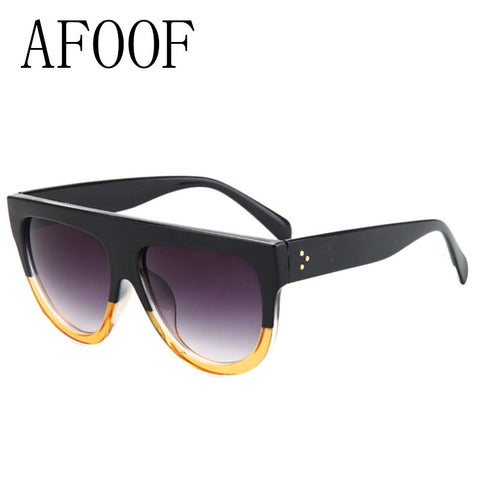 AFOOF Fashion Sunglasses Brand Designer Vintage Women Flat Top Sun glasses Female Rivet Shades Oversize Eyewear Oculos De Sol