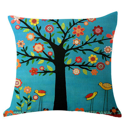 Fashion Decorate Home Cotton Linen Sofa Cushion Cover Tree Pattern Christmas Decorative Sofa Throw Pillow Covers