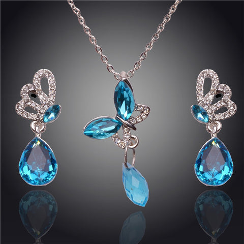 Fashion 2014 Brand New Austrian Crystal Butterfly Earrings Water Drop Pendant For Women Jewelry Sets Wedding Party Gift