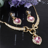 Romantic Ocean Heart Pendant Design Wedding Set 18K Gold Plated Austrian Crystal Necklace Earrings Jewelry Set For Women Bridal