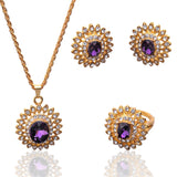 Free Shipping Hot Sell: 18k Gold Plated  Austrian Crystal Sunflower Pendant Necklace Earring Ring Jewelry Sets For Women