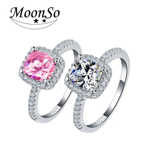 Real 925 Sterling Silver Sapphire Ring Pink Wedding Engagement Zirconia Finger anel CZ Diamond for Women Jewelry Pure 100% T0820