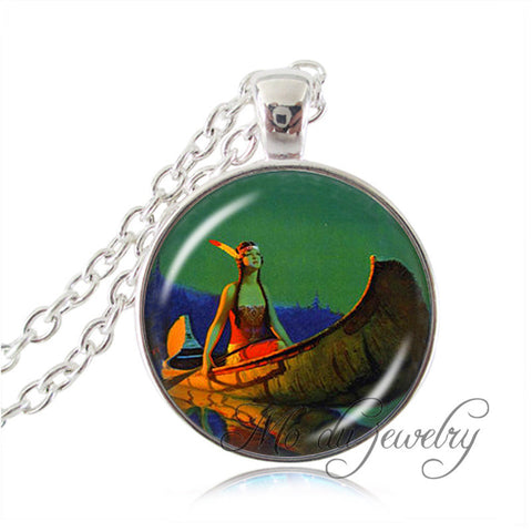Native American Indian Maiden in Canoe Pendant Necklace Western Jewelry American Indian Jewelry Glass Dome Necklace Colar