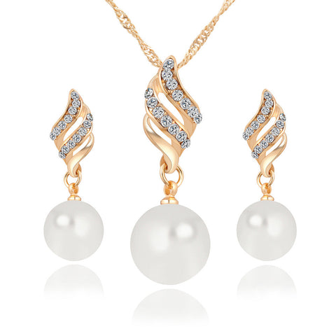 Fashion Women Necklace Earrings Jewelry Sets Crystal Gold Silver Plated Big Simulated Pearl Wedding Party Jewelry Sets For Women